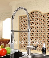 Modern Nickel Brushed Brass Water Kitchen Faucet Swivel Spout Pull Out Vessel Sink Single Handle Deck Mounted Mixer Tap MF-295