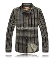 2014Men high quality brand spring fall winter long-sleeved shirt Lapel Striped Shirts Men's Casual Cotton Shirts Plus Size Shirt