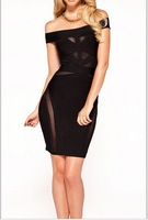 2014 new sexy shoulders a word gauze bandage dress high grade, the atmosphere of the dress