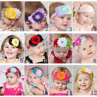 Free Shipping 6pcs/lot 2014 new headbands infant girls shabby flower hairbands with rhinestone Newborn toddler popular headwear