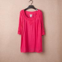 4XL 5XL 6XL Embroidery Tee Big Size Casual Women Blouse Ladies T-shirt Top Plus Large Size XXXXL XXXXXL 2014 New Summer