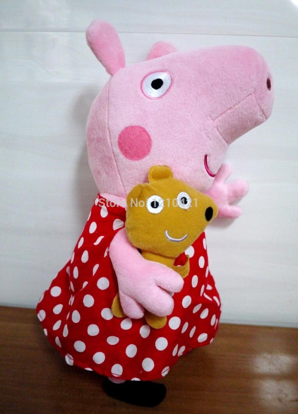 """Peppa porco brinquedo de pelúcia Polka saia Peppa 33 cm / 13 """" tamanho grande(China (Mainland))"""