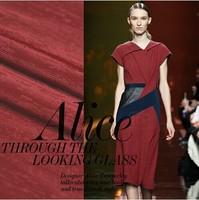 heavy fashion fabric rib slub linen polyester cloth soft 328g/meter for dress wine red