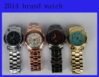 M Fashion Big Dial Famous Brand /w Logo Gold Silver Rose Gold Full Steel Quartz Wrist Watch for Women Ladies Men Unisex 2014 New