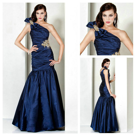Sexy One Shoulder Evening Dresses Taffeta With Bow on the Shoulder 2014 New Arrival(China (Mainland))