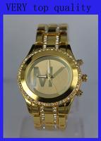 2014 New Arrive!!! Gold Silver Famous Brand M Luxuxy Crystal Diamond Steel Quartz Wrist Watch for Women Lady /w Brand LOGO