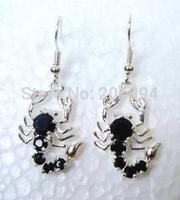 free shipping Scorpion Animal black jade Hook Pierced Dangle Earrings 2pair/lot fashion jewelry