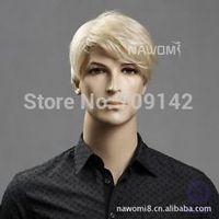 Men's Wig Light Blonde Fashion Short Hair Short Hair Wig Beautiful male man's men human Kanekalon hair wigs Freedom deliver