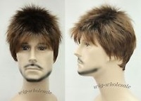 Brown Mix Short Straight Menfolk Men Male Daily Wear Hair Wig Perruque male man's men human Kanekalon hair wigs Free deliver
