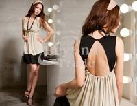 New 2014 Women Deep V-Neck Sexy Beauty Back Pretty Dress Casual Temperament Female Short Dress Free Shipping
