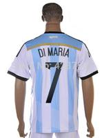 Argentina World Cup 2014 #7 Di Maria Blue/White Set Men Soccer Football Jerseys & Short Free Shipping Argentina Shirt