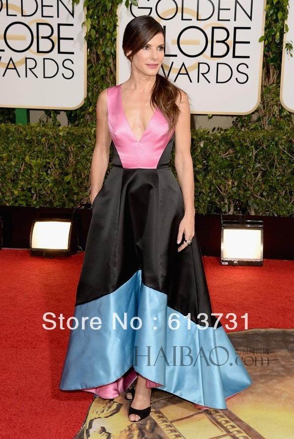 2014 71st Golden Globe Celebrity-Inspired Evening Dresses Red Carpet Gown V-neck Colorful Satin A Line Sandra Bullock(China (Mainland))