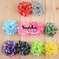 2 Inch Classical Geometric Pattern Mesh fabric Satin Flower without clip Mix Color 100pcs/Lot