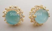 free shipping Christmas Beautiful Pair of blue Opal Earring 2pc/lot fashion jewelry