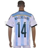 Best Hot Sell Argentina #14 Mascherano Football Shirt 2014 Brazil World Cup Men Soccer Jersey + Short Cheap Price