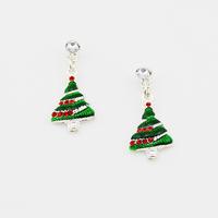Christmas tree earrings Women's Vintage Style Green Earrings Christmas Jewelry wholesale