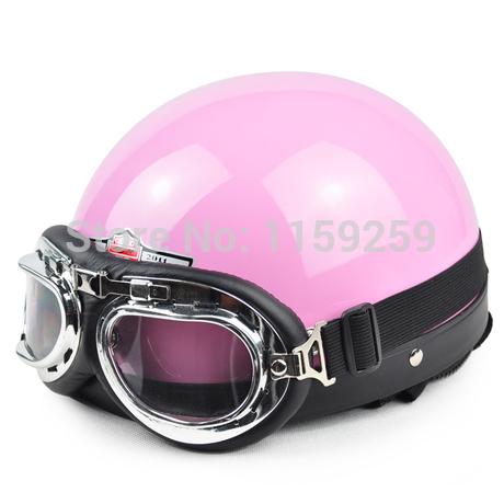 2014 Hot Goggles Motorcycle Half Face Motorcycle Racing Helmet Motorbike Bright black silver skull Helmet/ Free Shipping(China (Mainland))