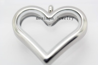 10pcs 36x33mm magnet Stainless steel large plain heart glass locket for floating charms keepsake xmas gift mother's gift
