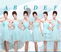 Promotion 2014 new arrival blue fashion ball gown strapless knee-length/short bridesmaid dresses with flower style A-F