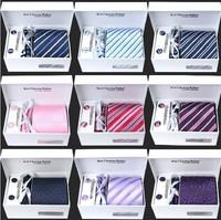 High Quality Brand Men's Plaid Stripe Necktie Gravata 100% Silk ties for Men's Necktie Set (No Gift Box) Wholesale And Retail