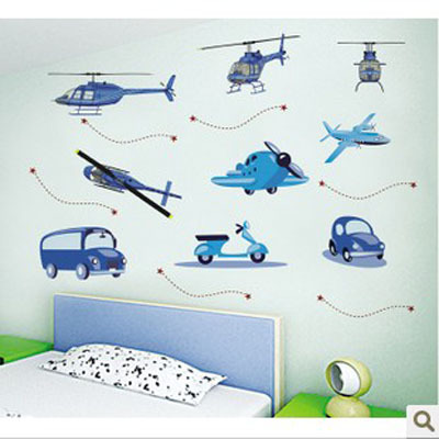NEW Airplanes Cars Helicopters Bus Removable Wall Sticker Decor Decal Hot jungle wall stickers(China (Mainland))