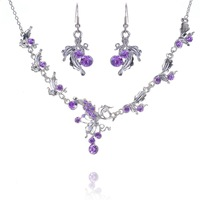 Fashion 6 Colors Gold Plated Flower Necklace Alloy Earrings Sets Women Acrylic Party Dress Jewelry Set Wedding B19717