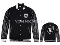 Free drop shipping  2014 new men's PU leather sleeve Raiders cardigan sweatshirts baseball coat jersey youth Varsity jacket