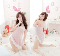 Wholesell and Retail  QH7095 Japanese sexy  costume pajamas Exotic Apparel -   Lovely pink bunny rabbit game uniform