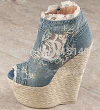 chaussures compensées jean fashion