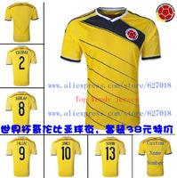 A+++ 1005 Top Thailand Brasil World CUP 2014 Colombia Camisetas De Futbol Jersey Soccer Custom Falcao Valderrama Escobar