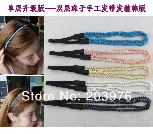 Crystal bead Elastic Hairband Headband Hair Wrap Girl Free shipping NEW April(China (Mainland))