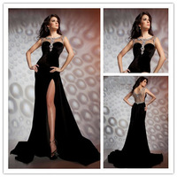 2014 High Quality Sexy Black Crystal Beaded See Through Top Prom Gowns With High Slit Party Gown Formal Evening Dresses