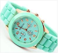 Minimum order 2pcsCandy color Watch Geneva men women Quartz watch boy girl Analog wristwatches Sports Rose Gold Silicone watches