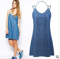 Summer Dress 2014 new European and American fashion denim skirt loose, casual dress sexy women