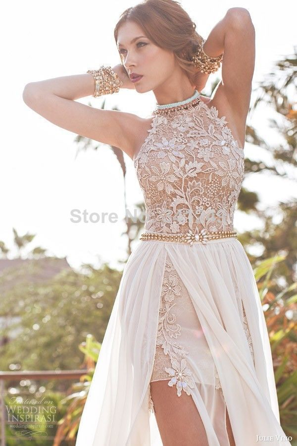 Bridal Dresses For Prom : Sexy halter lace appliqued beach wedding dresses evening