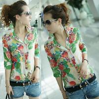 New 2014 women's blouse sexy chiffon shirt women slim long sleeve flower tops shirts