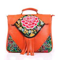 China National Wind Restoring Vintage Sequins Embroidery Shoulder Inclined Shoulder Denim  Ethnic Woman Handbags