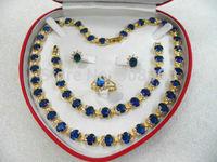 Hot Sale  women's jewelry aquamarine gem yellow gold Earring Bracelet Necklace Ring  fashion jewelry