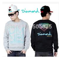 Free drop shipping  2014 new Men's diamond pattern round neck pullover long sleeve sweatshirts varsity Hoodies