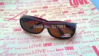 NEW Solar Shield Fits Over   Sunglasses, Polarized, Brown Frame Brown Lens, 100% UV Protective Over Glasses Men   Women