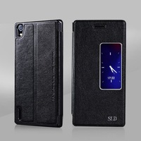 New Huawei Ascend P7 View Window Flip Leather Case With Automatic Smart Sleep Wake For Huawei Ascend P7 cover case