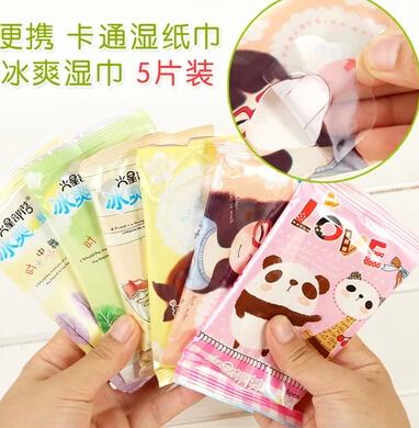 Min $ 10 ordem misturada 5pcs Varejo / lote bonitos dos desenhos animados toalhas de papel molhado gelo portátil legal Estudantes toalha molhada limpar o geral(China (Mainland))