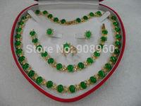 Hot Sale  women's jewelry green jade gem yellow gold Earring Bracelet Necklace Ring  fashion jewelry
