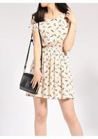 Casual Dress Natural 2014 None Bargain Hot Sale Women Spring Summer Dress New Fashion Bird Print Mini Chiffon Plus Size S-xxxl
