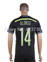 Thai Quality New Brazil Away #14 Alonso Men Brazil World Cup 2014 Best Sport Jersey Free Shipping Cheap Price