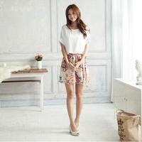 Office Dress Vestido Women Summer Dress Sale Natural New 2014 Wear Charming Crewneck Chiffon Short Sleeve Floral Mini Plus Size