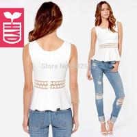summer fashion lace patchwork cutout sweep sleeveless ruffle slim female short chiffon shirt
