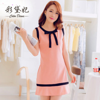 Diana 2014 spring and summer new arrival bow sleeveless plus size gentlewomen slim one-piece dress