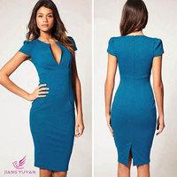 Party Dresses Sale Dress 2014 Elegant Ladies' V-neck Fashion Celebrity Pencil Women Work Slim Knee-length Pocket Party Bodycon