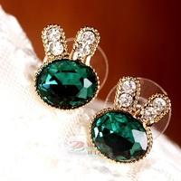 Korean jewelry wholesale navy blue gems stones delicate rabbit earrings network explosion models earrings wholesale YT0504